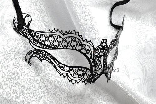 Black Elena Butterfly Laser Cut Masquerade Venetian Mask -
