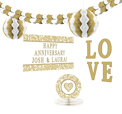 Amscan Elegant Gold Scroll Personalized Party Decorating (Celebration Personalized Banner)