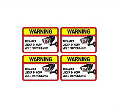 ProGrade Security Camera Sticker Video Surveillance Sticker with Security Sign Warning for Home and Business, UV Weather Resistant, 6 x 4.25-Inch, Pack of 4