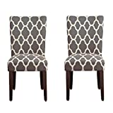 HomePop Parsons Classic Upholstered Accent Dining Chair, Set of 2, Grey and Cream Geometric Review