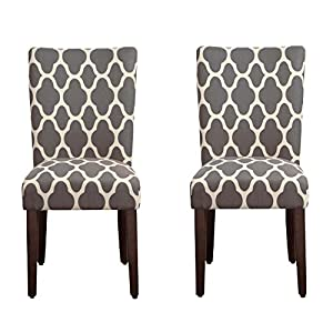 picture of HomePop Parsons Classic Upholstered Accent Dining Chair, Set of 2, Grey and Cream Geometric