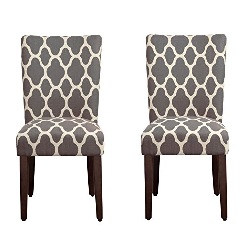 HomePop Parsons Classic Upholstered Accent Dining Chair, Set of 2, Grey and Cream Geometric,homepop