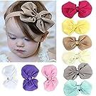 Sannysis(TM) 9PC Sweet Babys Girls Chiffon Flower Elastic Headband + Flower Baby Hat