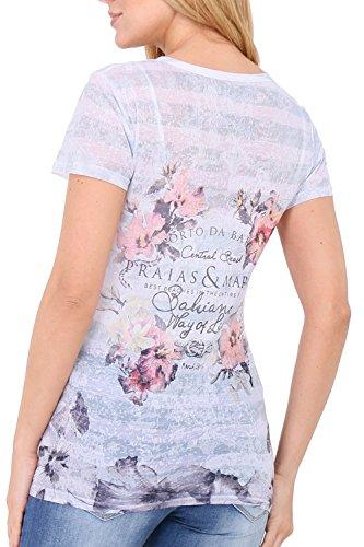 Zelia - Camiseta - Floral - Cuello redondo - para mujer blanco