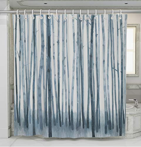 "Norman Wyatt Home Indigo Shadow Grove Print Polyester Fabric 72""x72"" Bathroom Shower Curtain with Hooks - 100 % Polyester INDIGO SHADOW GROVE COLORFUL SET- This exclusive print and high quality shower curtain is sure to impress. The unique and classic, art-inspired shower curtain is designed in the USA and digitally printed in at our manufacturing facility to create clean and vibrant images that will beautify your bathroom ODOR FREE- We use only premium polyester when manufacturing our high quality shower curtains. They are machine washable and 100% Mildew Resistant. - shower-curtains, bathroom-linens, bathroom - 51acprWdwaL -"