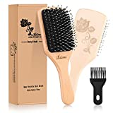 Bsisme Hair Brush-Boar Bristle Brush with Detangling Pins Wooden Paddle Detangler Hairbrush for Women Men Girls Reduce Frizz Dry Restore Natural Shine Improve Hair Texture-Brush Cleaner Tool Included