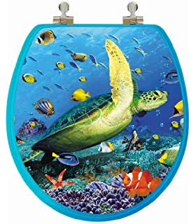 TOPSEAT 3D Ocean Series Round Toilet Seat w  Chromed Metal Hinges Wood Sea Amazon com Croydex Gold Glitter by Paintings