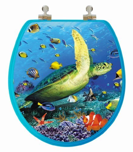 - TOPSEAT 3D Ocean Series Round Toilet Seat w/Chromed Metal Hinges, Wood, Sea Turtle