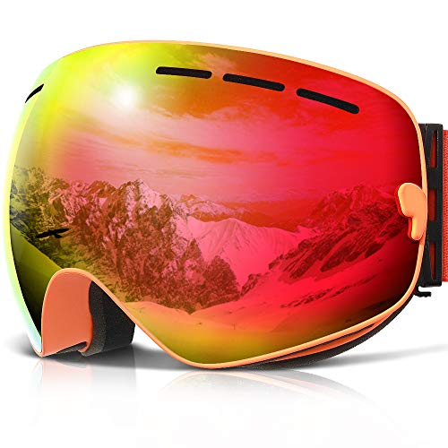 COPOZZ Ski Goggles, G1 OTG Snowboard Snow Goggles for Men Women Youth Anti-Fog UV Protection, Polarized Lens Available (G1 Ski Goggles Orange Frame/Red Lens (VLT 20.5%), G1 Ski Goggles)