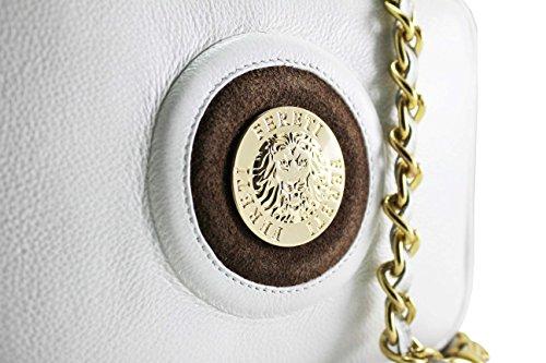 bolso marron y y piel cadena bandolera Blanco dorado de con FERETI borla OwAaA