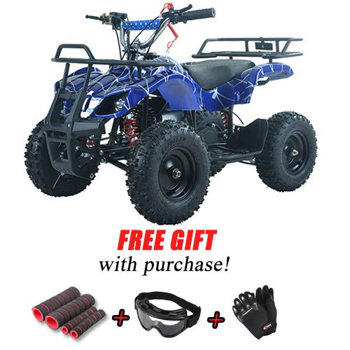 X-Pro Kids ATV 4 Wheelers 40cc Quads Kids Quad with Gloves, Goggle and Handgrip (Spider Black) by X-Pro (Image #6)