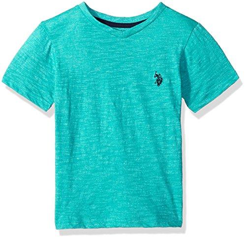 (U.S. Polo Assn. Big Boys' Short Sleeve Solid V-Neck T-Shirt, Solid Marbled v Neck Marled Island Jade, 10/12)