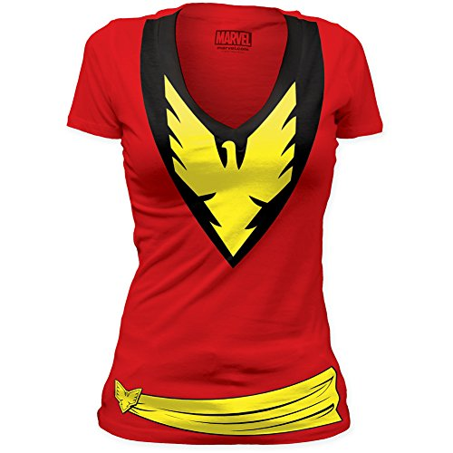 Marvel Tees Phoenix Dark Phoenix Juniors Deep V Red Tunic Tee Medium