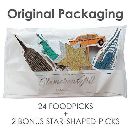 (Value Pack- 24 Cupcake Toppers Picks- Various Themes (New York)