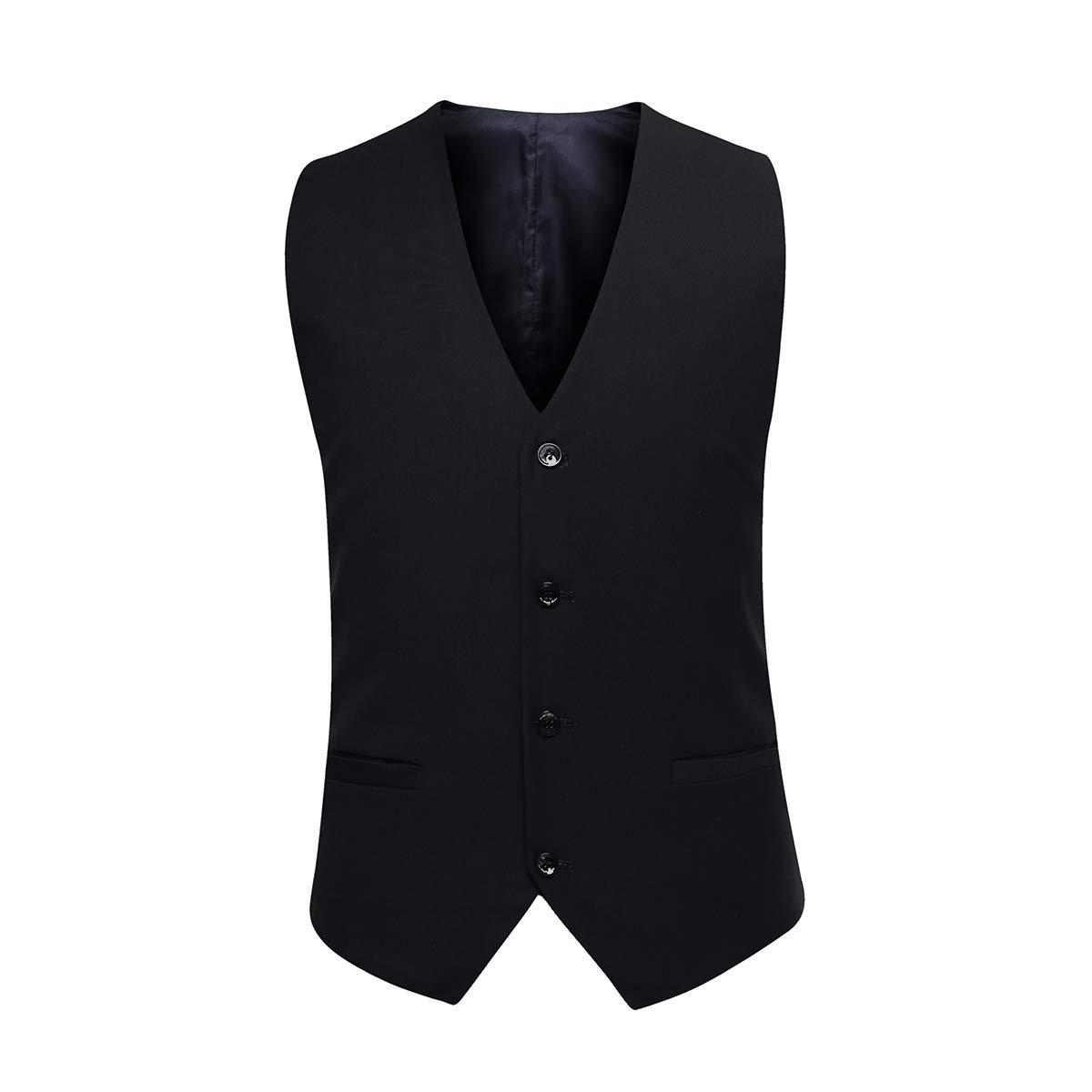 Mens Slim Fit Three Piece Suit Set Two Button Black Jacket /& Vest /& Pants