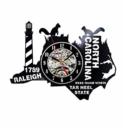 North Carolina Gift USA States City Vinyl Record Clock Wall