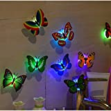 x1 org - 10 Pack - Change Colors LED Butterfly Stick-on Wall Night Lights