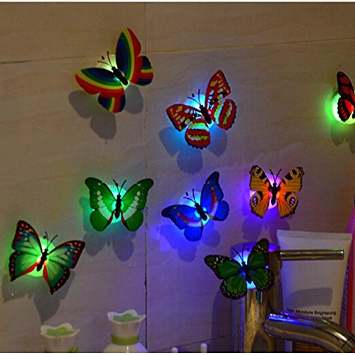 10 Pack - Change Colors LED Butterfly Stick-on Wall Night - Car Discount Shades Code