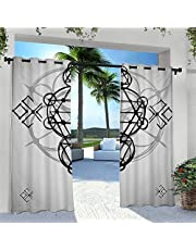 Adorise Outdoor Curtain Proportion of The World Figure with Intersecting Concentric Spiral Art Outdoor DéCor Patio Curtains for Bedroom, Porch, Pergola, Cabana Light Blue