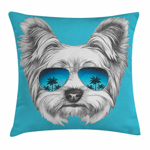 Ambesonne Yorkie Throw Pillow Cushion Cover, Yorkshire Terrier Portrait with Cool Mirror Sunglasses Hand Drawn Cute Animal Art, Decorative Square Accent Pillow Case, 16 X 16 Inches, Blue White Terrier Accent Pillow