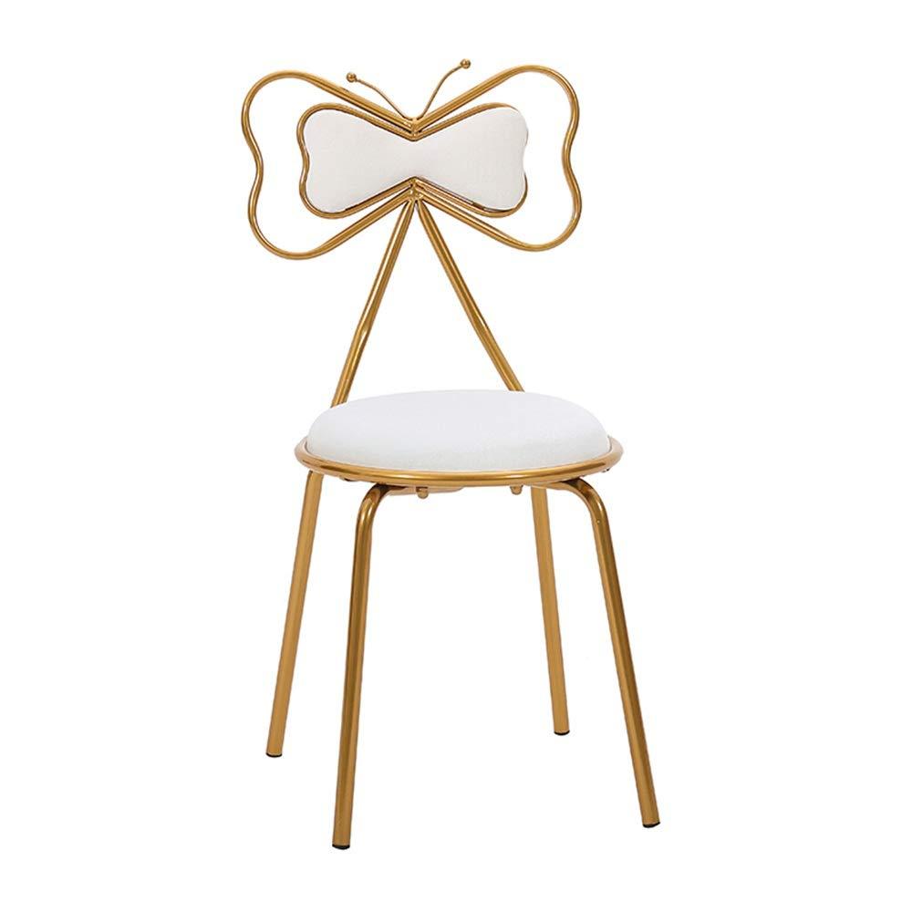 Liuzecai Cartoon Hocker Schöne Bowknot Designed Metall Esszimmerstuhl for Küche Schlafzimmer Dekoration Modern Style Schminktisch Hocker Make-up-Stuhl Kinderhocker (Farbe : Weiß, Größe : 82x45x39cm)