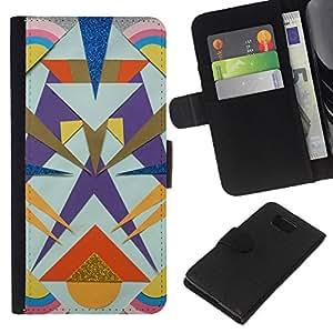 KingStore / Leather Etui en cuir / Samsung ALPHA G850 / Líneas Totem Oro Polígono patrón;