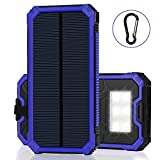Solar Battery Charger, LBell Portable 12000mAh Solar Charger with 6 LED Flashlight Dual USB Port External Battery Charger with Hook for Cellphone, Tablet, Camera GPS at Emergency Outdoors(Blue)
