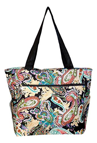 Large Multi - Pocket Fashion Zipper Top Beach Bag Tote - Custom Embroidery Available (Multi Paisley)