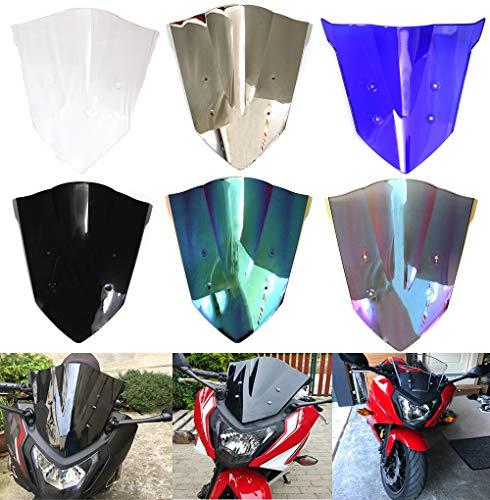 Motorcycle Double Bubble WindScreen Windshield Wind Deflectors Motorbike screen Airflow For Honda CBR650F 2014 2015 2016 2017 2018 (Blue)
