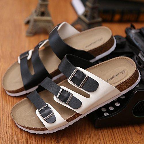 tiene parejas Las la verano cool zapatillas que arrastre y el en sandalias de un de casual A masculinas pinza zapatillas corcho arena antideslizante 1 y de tendencia pasador hembra nbsp;Fa 43 blanco negro qqnwr0gd
