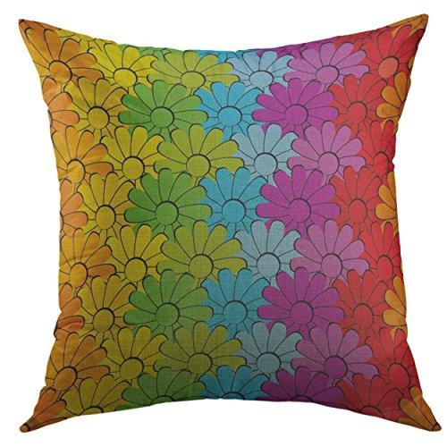 Mugod Pillow Cover Blue Peace Flower Rainbow Green Sign Home Decorative Throw Pillow Cushion Cover 16x16 Inch Pillowcase