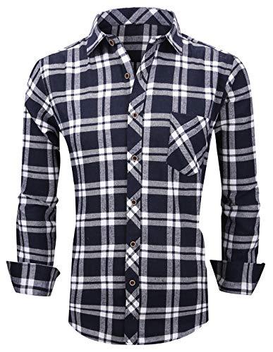 (XTAPAN Men's Plaid Casual Regular Fit Long Sleeve Lattice Button Down Dress Shirt Tag 42 Blue White M621)