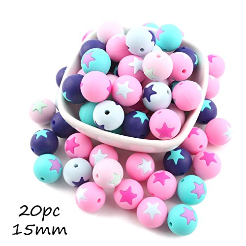Bead Necklaces Patterns - Baby Love Home Teething Beads Food Grade Silicone Teether Baby Nursing Accessories Necklace Teether 15mm Round Beads Pattern with Star 20pcs