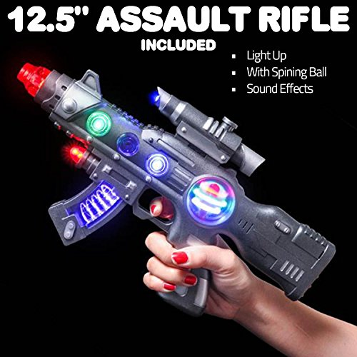 """LED Light Up Toy Gun Set by Art Creativity - Super Ray Gun Blasters with Colorful Flashing LEDs & Sound - Cool Play Toys for Boys and Girls - Includes 12.5"""" Assault Rifle, 9"""" Hand Pistol and Batteries"""