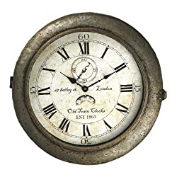 Bailey Street Industrial Rustic Large Round Wall Clock