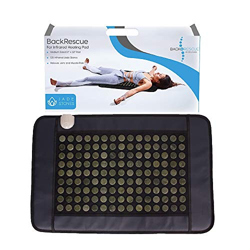 Back Rescue Far Infrared Heating Pad, Fast Effective Pain Relief, no EMF, FDA, 1 Year Warranty, Real Jade 21