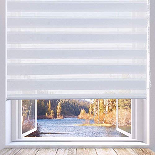 LUCKUP Horizontal Window Shade Blind Zebra Dual Roller Blinds Day and Night Blinds Curtains,Easy to Install 27.6″ x 90″, White …