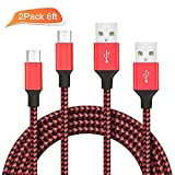 2 Pack 6ft ilikable High Speed Micro USB Cable Nylon Braided Data Sync Charging Cable Cord for Android Smartphones and Tablets - Red Black