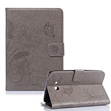"""Samsung Galaxy Tab 4 10.1"""" T530 Case[with Free Touch Pen] ,Funyye Skin [Butterfly Sunflower Floral] Luxury Premium Folio PU Leather Wallet Flip Magnetic Closure with Stand Function Built-in Credit Card Slots Holders Book Style Skin Case Cover for Samsung Galaxy Tab 4 10.1"""" T530/T535 - Gray"""