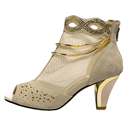Guciheaven Women New Style Beautiful Lace Mesh Peep Toe Rhinestone Shoes(5.5 B(M)US, Beige)
