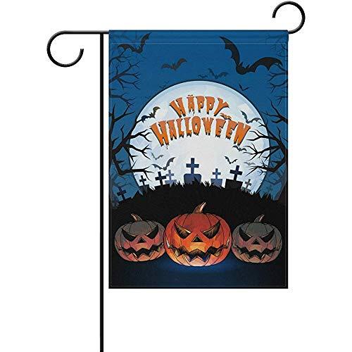 (AIRCRY SHOP Art Happy Halloween Pumpkin Lantern Glowing The Darkness Graveyard Decor Garden Flag 12 x 18)