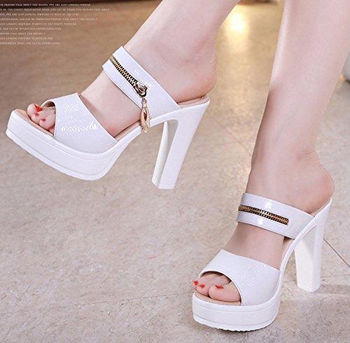 Chaussure on Mules Easemax Mode Haut Femme de Talon Travail Slip Blanc Bloc aYqv0YwC