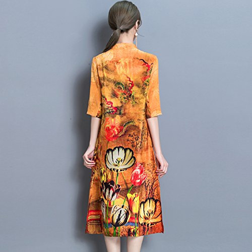 Madre De Color Vestido Larga De De Seda Seda Largo De Manga Vestido RONG XIU A4FwqUpfp