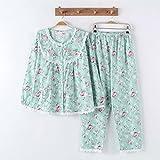 MOXIN Ladies Pajamas Long Sleeve Lace Set Home Service , l (100% pure cotton) , B