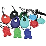 chubuddy Moderate Chewers 11 Pack: Buds in Black, Red, Eggplant, Aqua & Forest; Fish in Blue, Red, Aqua; Robotz in Red, Green, Blue; Non-Toxic Material