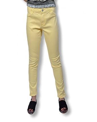 Jean Femme B.YOUNG - Jean femme coupe slim taille haute de couleur jaune - d136fe49f52