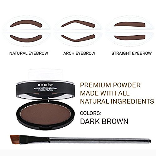 Taipo 3 Stencils Waterproof Eye Brow Stamp Perfect Eyebrow Power Seal Nature Delicate Shape Makeup Fashion Unique Brow Powder for Eyebrows Beginners Busy People (Dark Brown) by Taipo (Image #2)