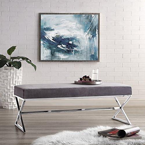 Aurora Grey Velvet Upholstered Bench – Stainless Steel Legs Chrome Tone Living-room, Entryway, Bedroom Inspired Home