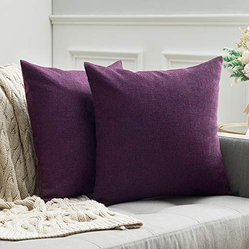 MIULEE Pack of 2 Decorative Square Throw Pillow Covers Farmhouse Style Linen Cushion Cases Vintage Decor Purple Pillow Cases for Couch Sofa Bedroom Car 18 x 18 Inch 45 x -