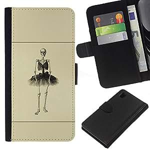 JackGot ( Esqueleto de la bailarina ) Sony Xperia Z1 L39 la tarjeta de Crédito Slots PU Funda de cuero Monedero caso cubierta de piel